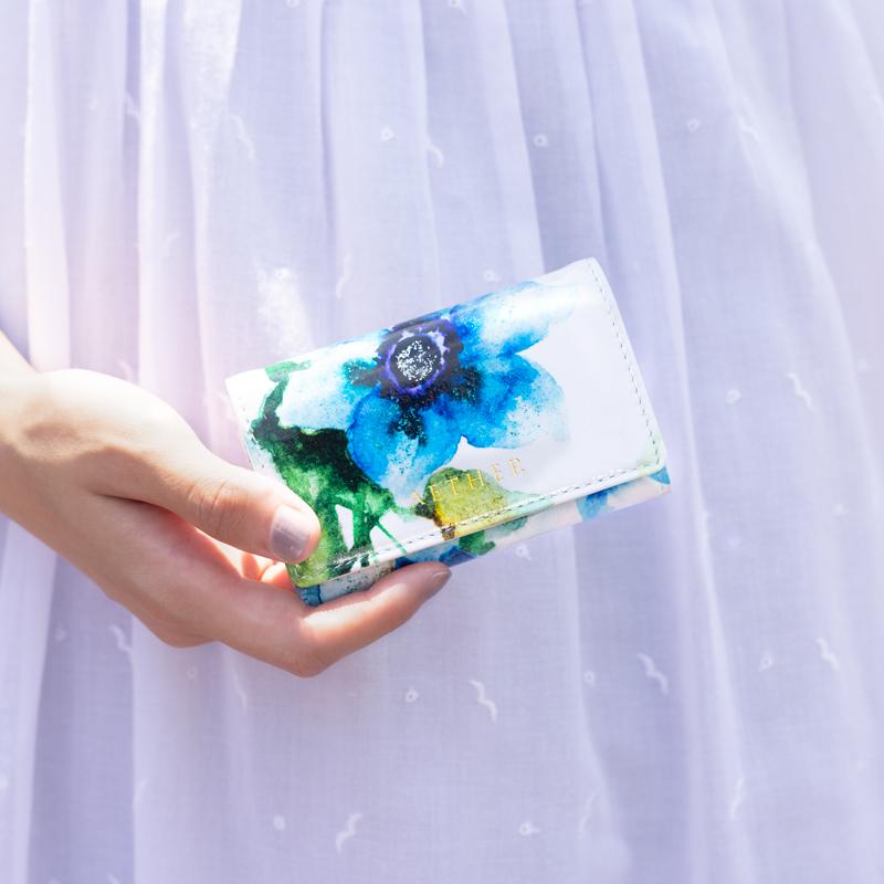 エナメルレザー「エトワールブルー」かぶせ(長財布)