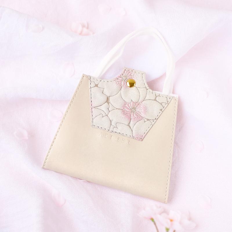 桜柄ヌバックレザー「サクラ」マスクケース