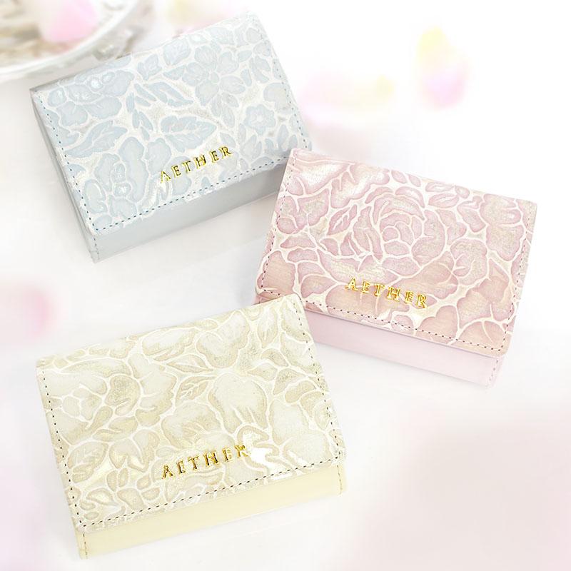 バラ柄スプリットレザーレザー「シュクレ」三つ折りミニ財布