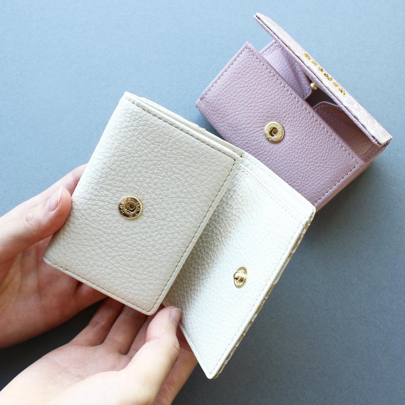 バラ柄スプリットレザー「シュクレ」三つ折りミニ財布