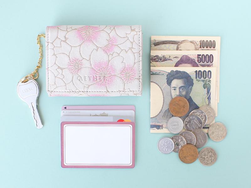 桜柄ヌバックレザー「サクラ」ミニ財布(4way)