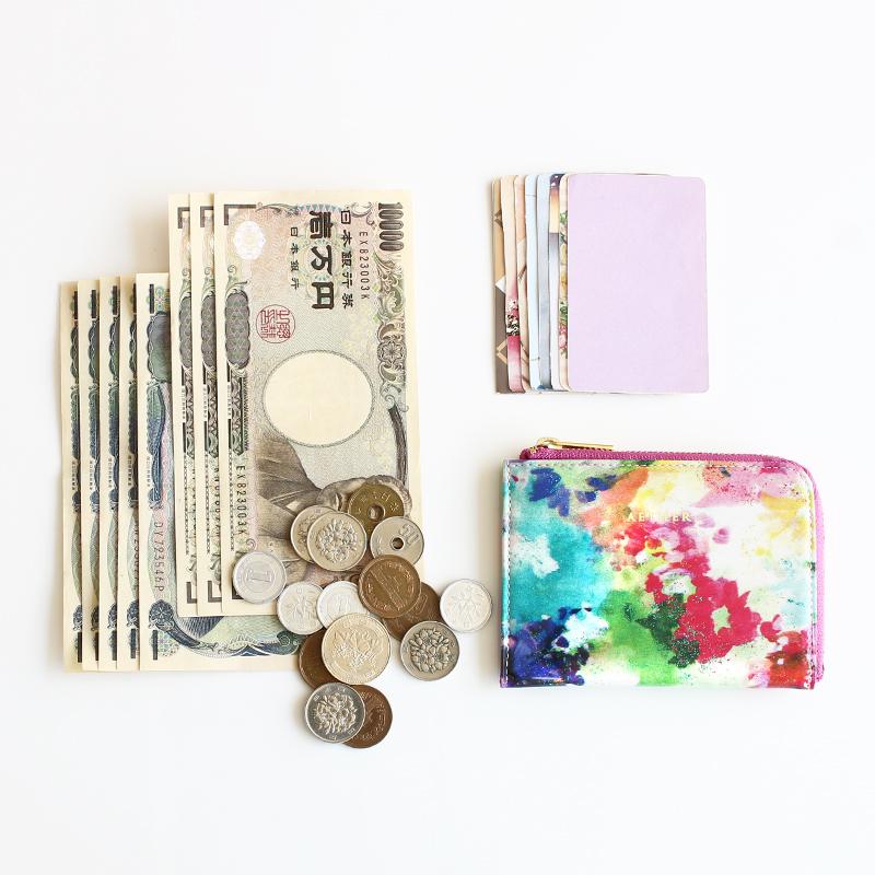 エナメルレザー「フルール」ミニL字財布