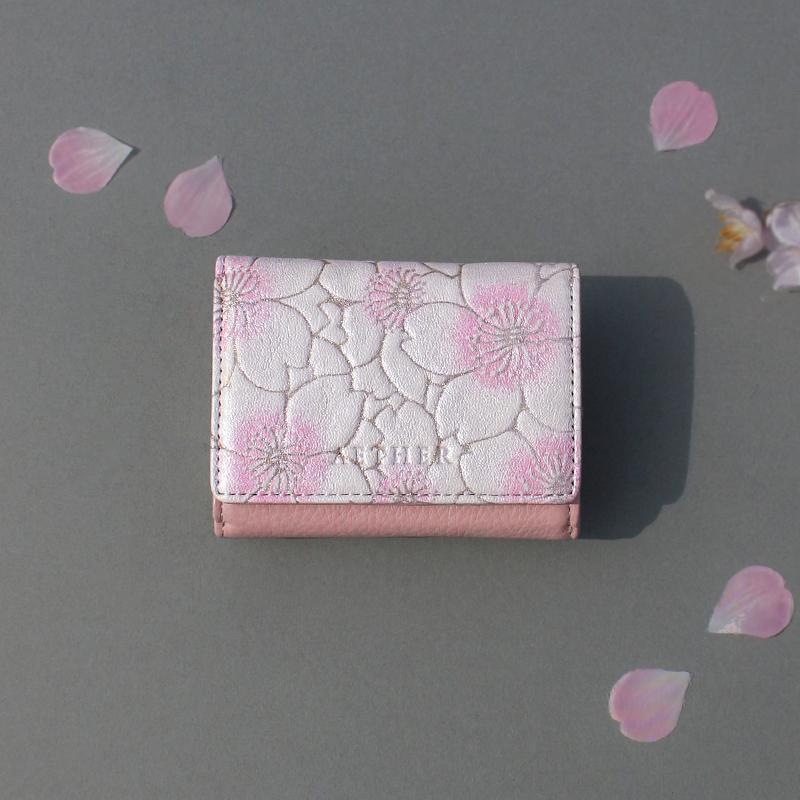 グレインレザー「サクラ」三つ折り財布