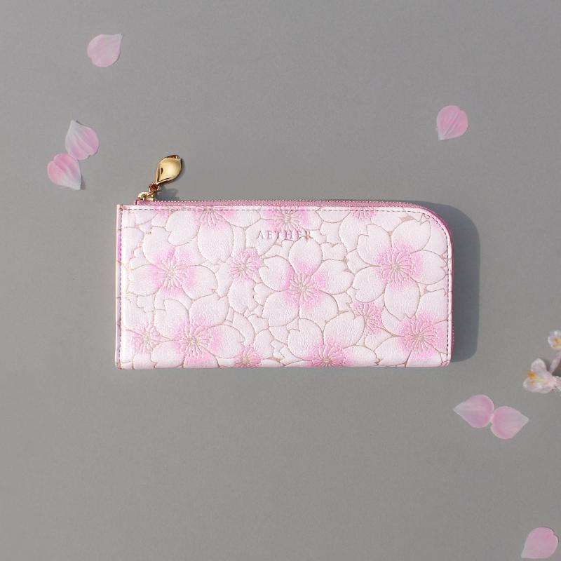 桜柄ヌバックレザー「サクラ」L字ファスナー長財布