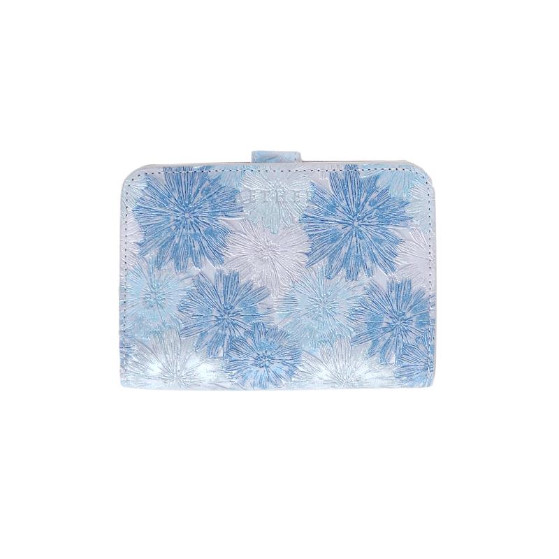 マーガレット型押しレザー「マルグリート」二つ折り財布ブルー