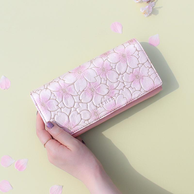 桜柄グレインレザー「サクラ」かぶせ長財布