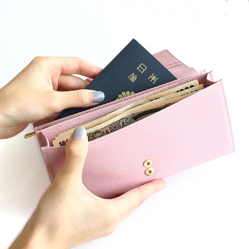 マーガレット型押しレザー「マルグリート」長財布(かぶせ)