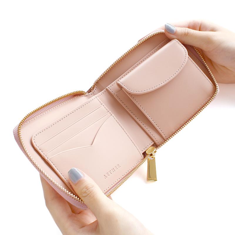 コードバンレザー「ディアマン・コレット」二つ折り財布(ラウンドファスナー)