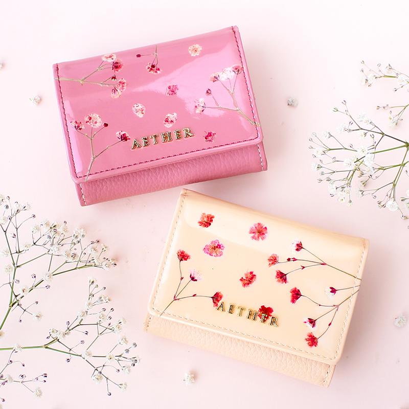 押し花レザー「ジプソフィア」三つ折りミニ財布
