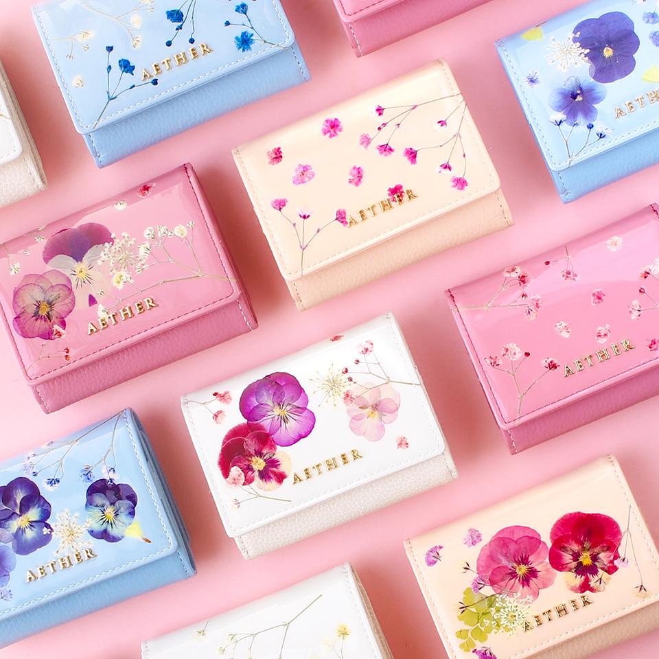 押し花レザー「ジュリエット」ミニ財布(三つ折り)