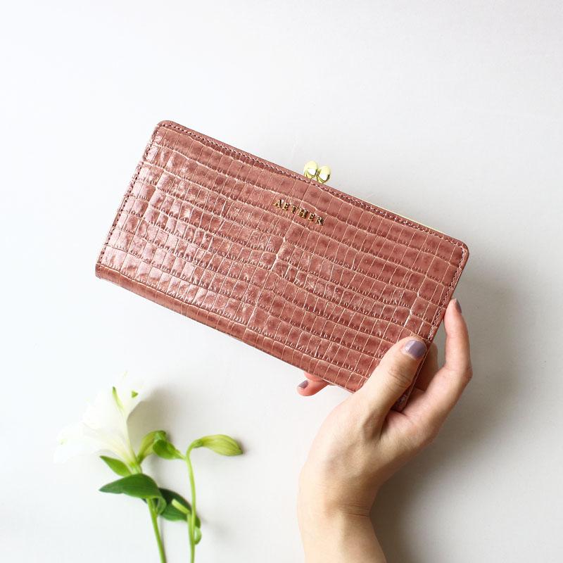 クロコ型押しレザー「ニナ」がま口長財布