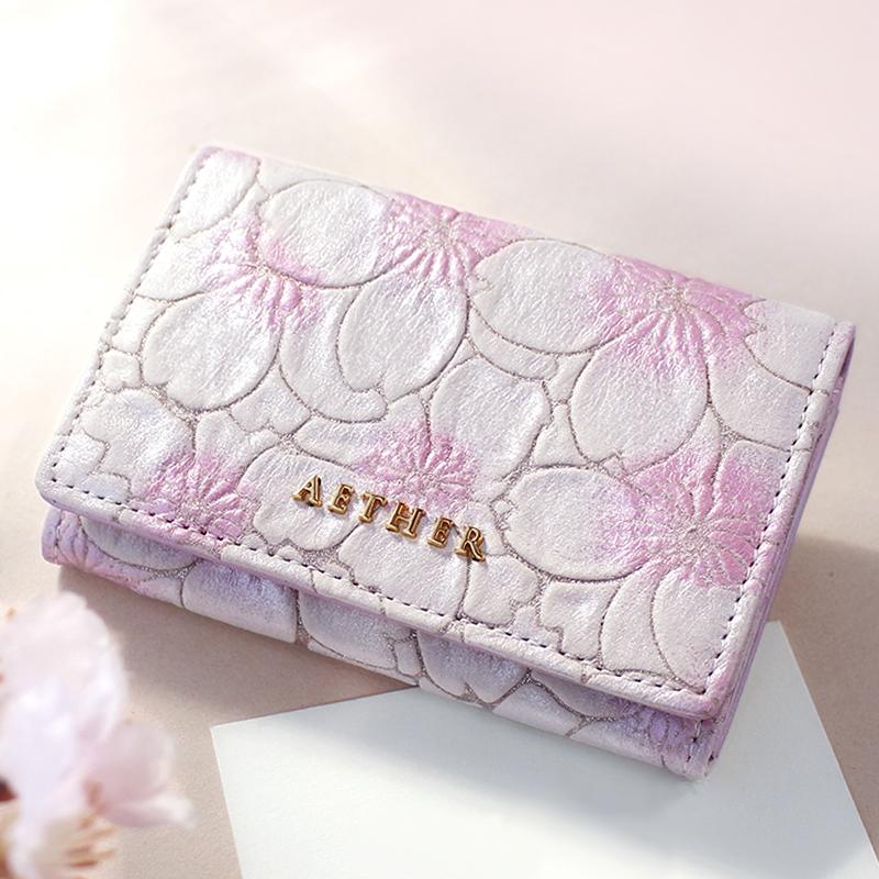 桜柄ヌバックレザー「サクラ」カードケース