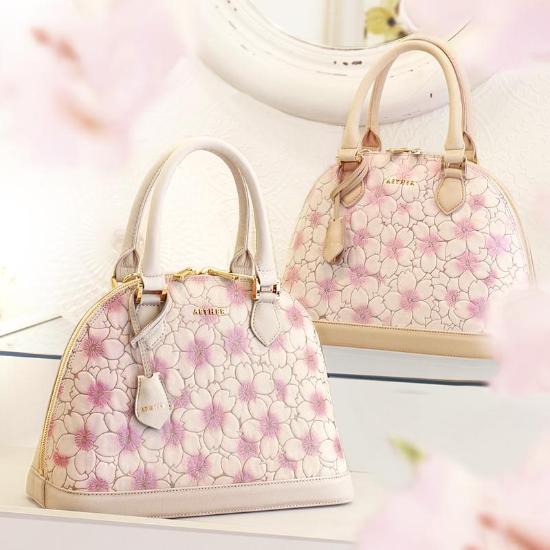 桜柄ヌバックレザー「サクラ」ラウンド型ハンドバッグ