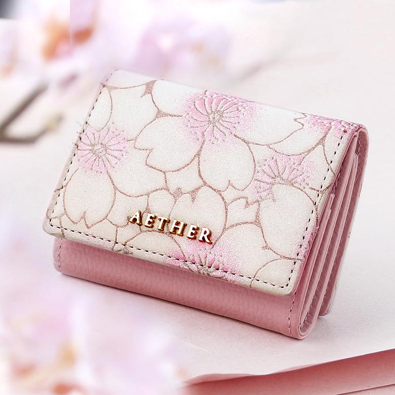 桜柄ヌバックレザー「サクラ」三つ折り財布