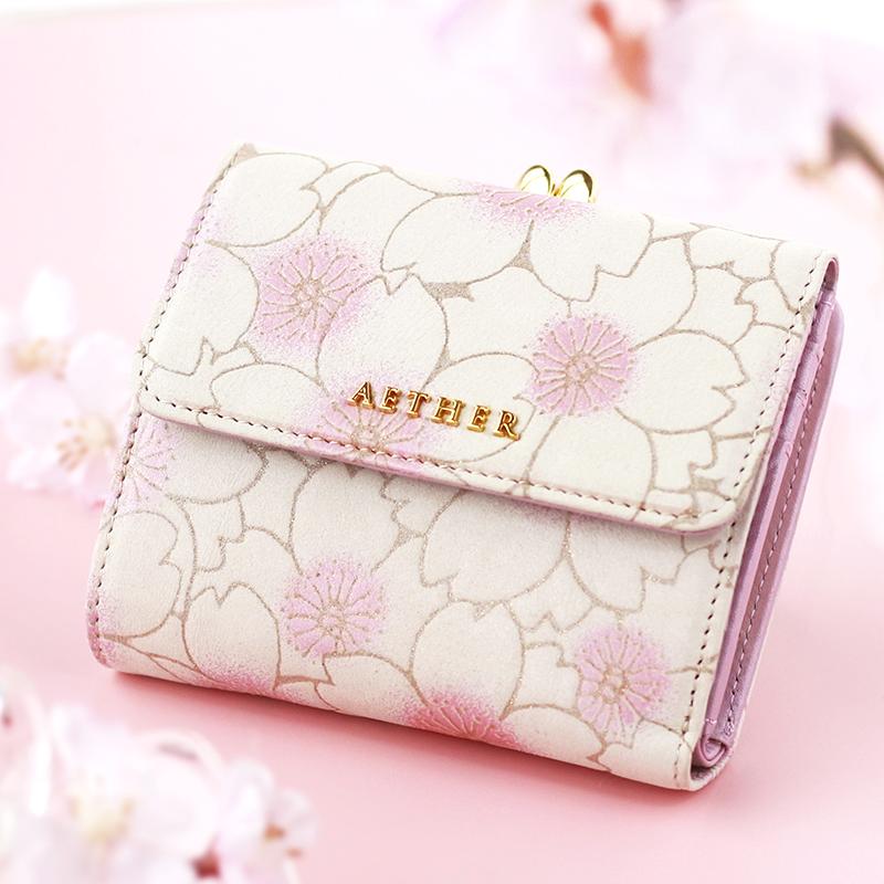 桜柄ヌバックレザー「サクラ」がま口財布