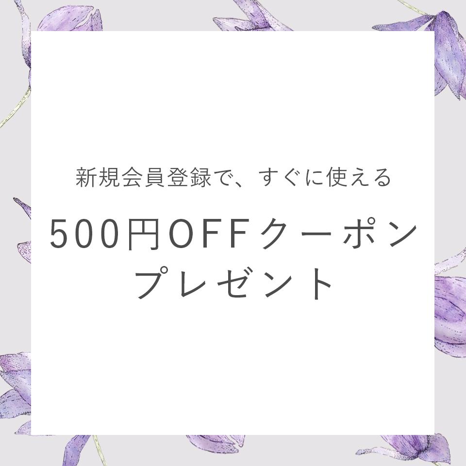 新規会員登録で今すぐ使える500円OFFクーポンプレゼント