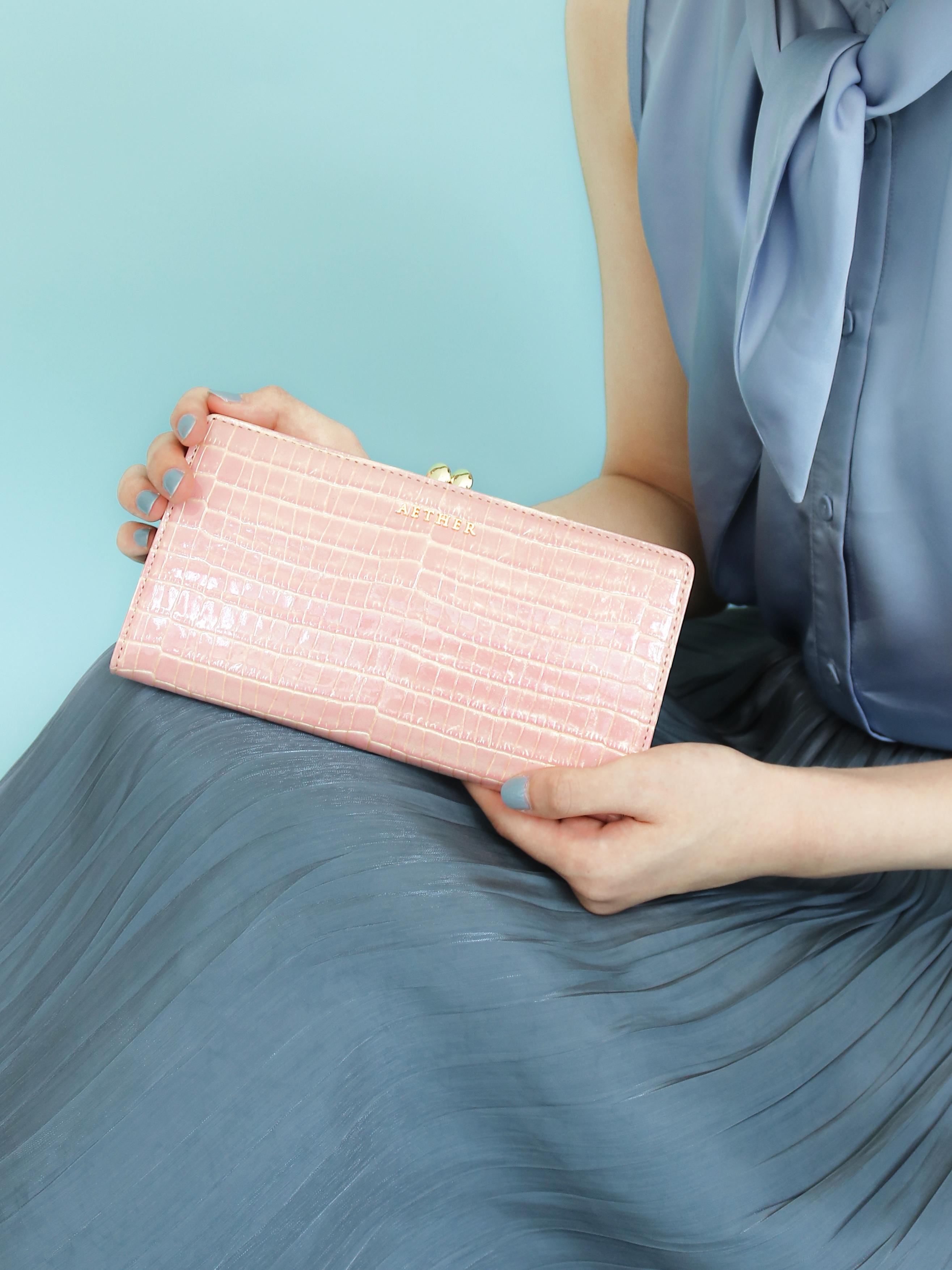 クロコ型押しレザー「ニナ」長財布(がま口)
