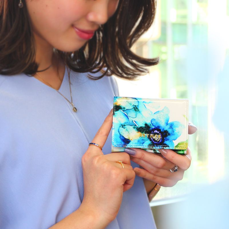 エナメルレザー「エトワールブルー」ミニ財布(4WAY)