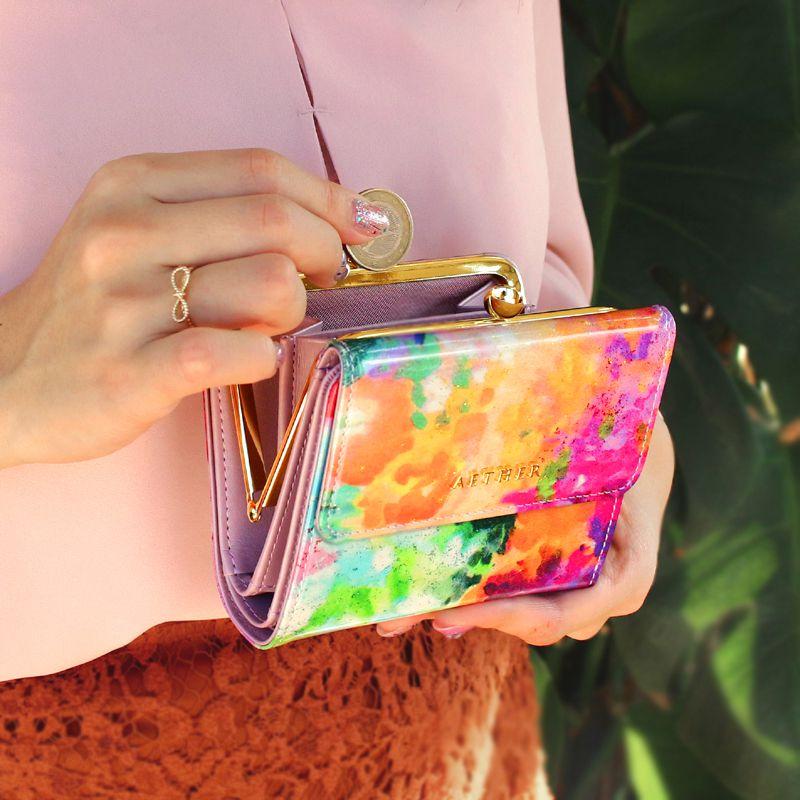 エナメルレザー「フルール」二つ折り財布(がま口)