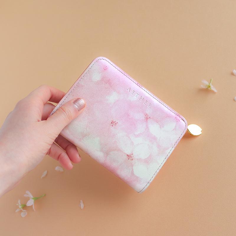 オリジナル桜柄レザー「フロレゾン」二つ折り財布