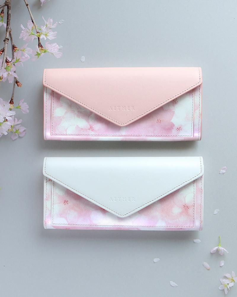 オリジナル桜柄レザー「フロレゾン」レター型長財布