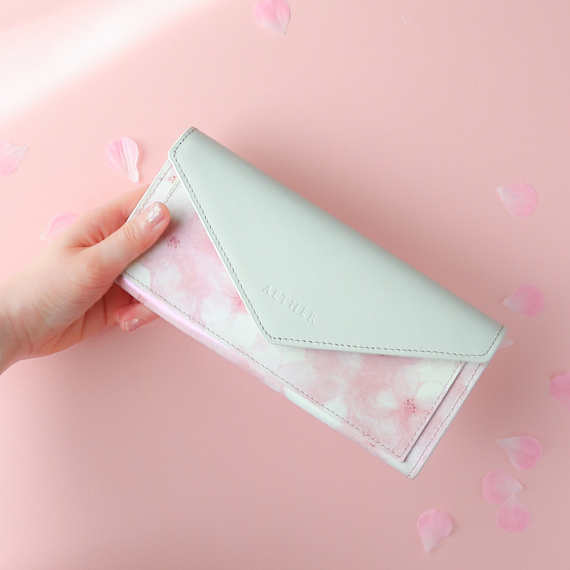 オリジナルプリントレザー「フロレゾン」レター型長財布