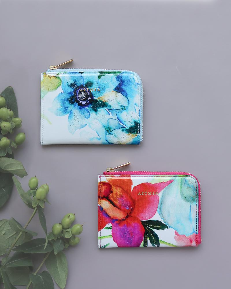 ミニ財布(L字ファスナータイプ)赤い花柄「ピヴォワンヌ」青い花柄「エトワールブルー」