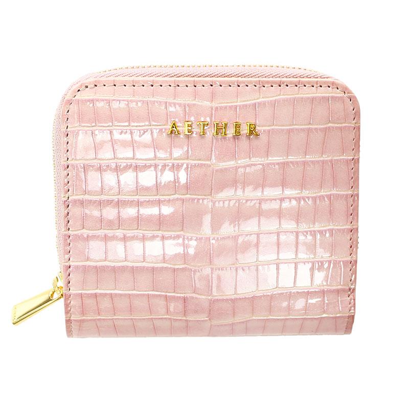 エナメルレザー「ニナ」二つ折り財布(ファスナー)