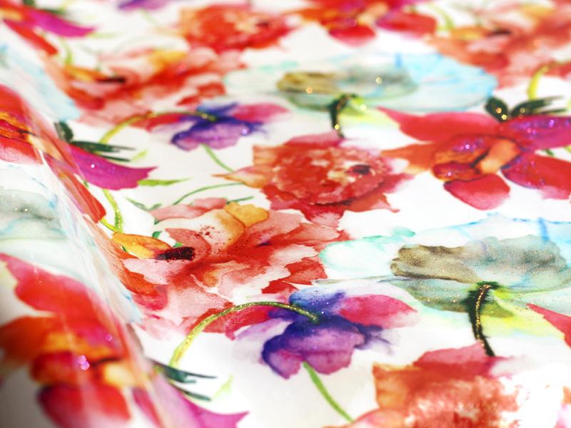 赤い花柄エナメルレザー「ピヴォワンヌ」