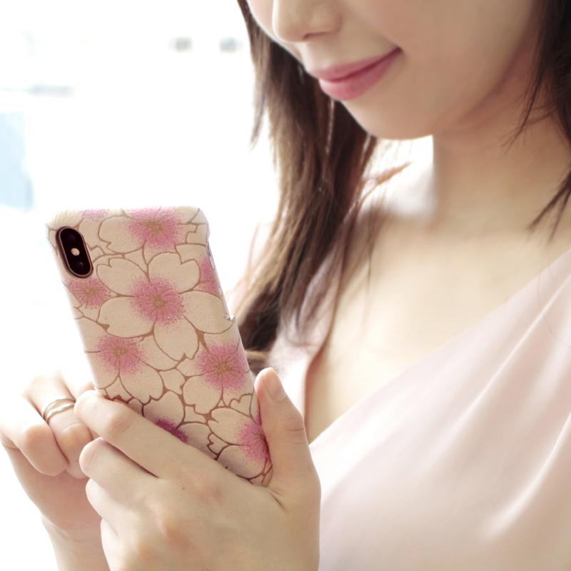 ヌバックレザー「サクラ」スマホケース(iPhoneX/XS対応)