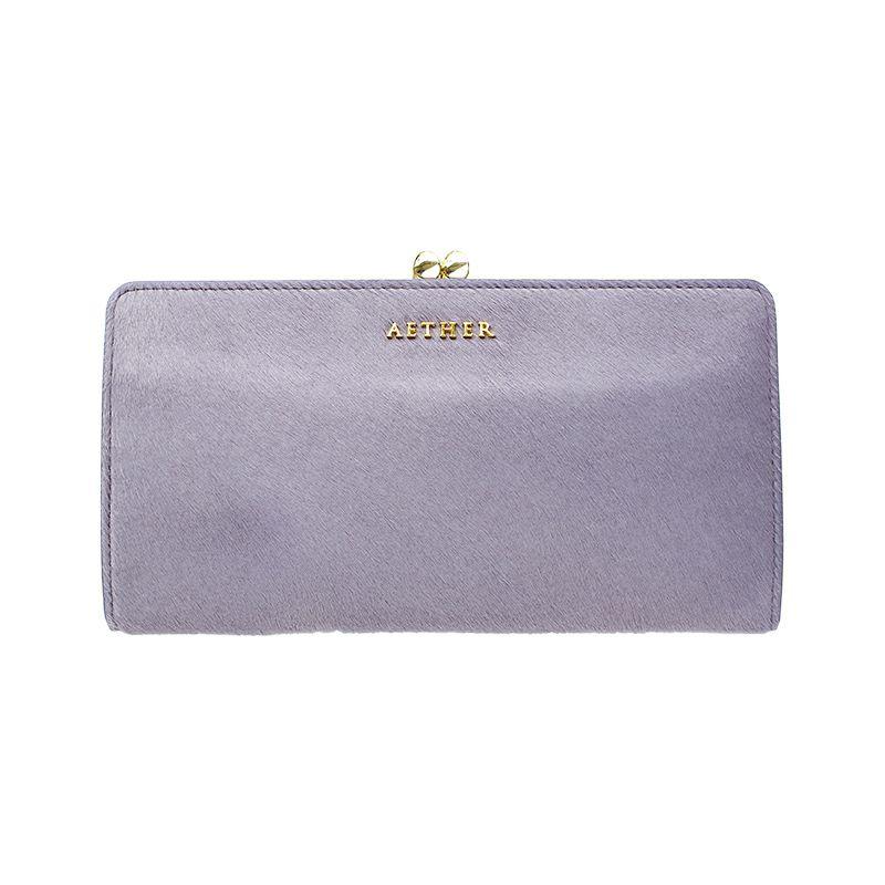 ヘアカーフ「アリュール」長財布(がま口) スミレパープル