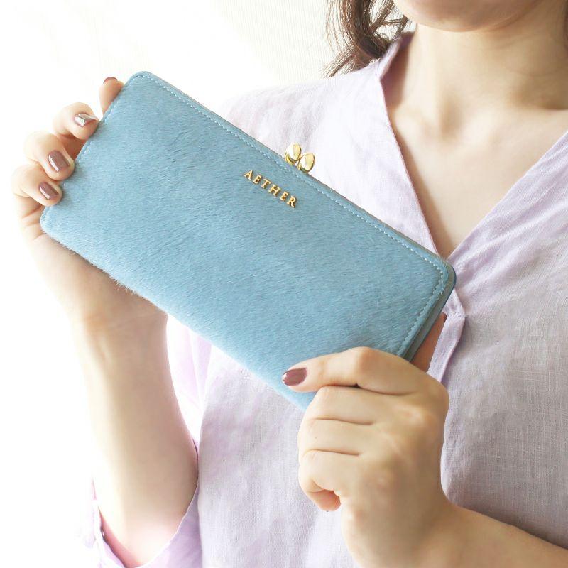 ヘアカーフ「アリュール」長財布(がま口) サクラピンク