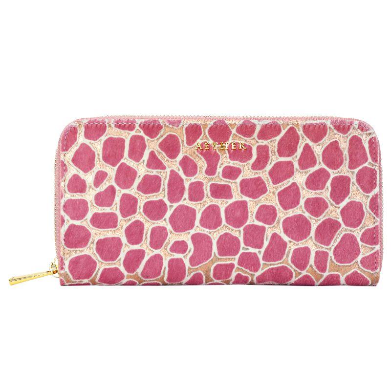 ピンクのジラフ柄ヘアカーフ長財布