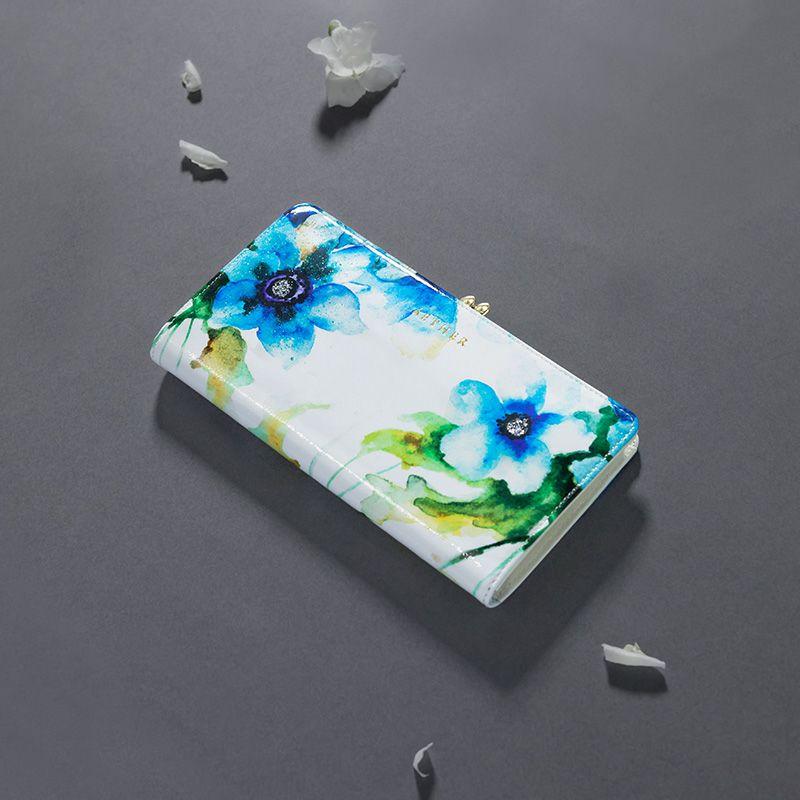 エナメルレザー「エトワールブルー」長財布(がま口)