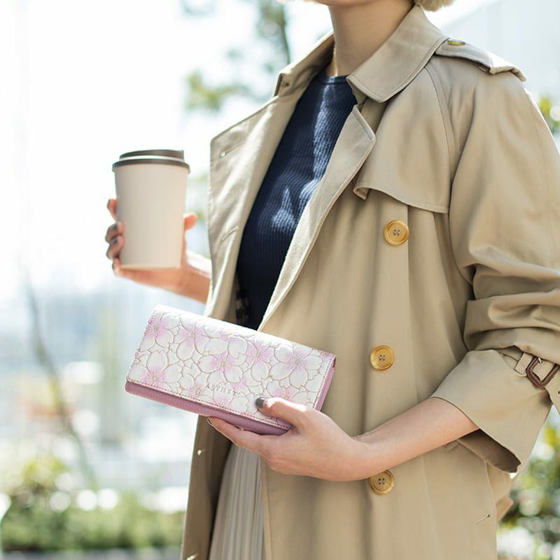 ヌバックレザー「サクラ」長財布(かぶせ)