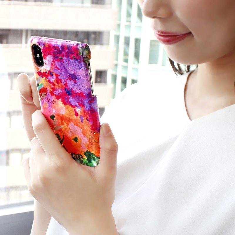 エナメルレザー「フルール」スマホケース(iPhoneX/XS対応)