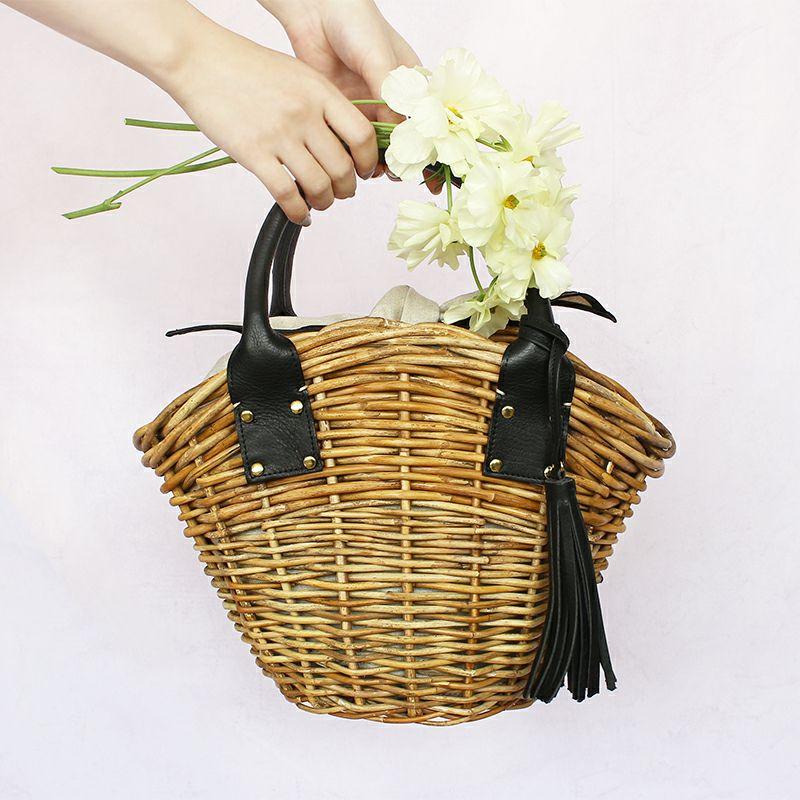 天然アラログ製かごバッグ・マノン