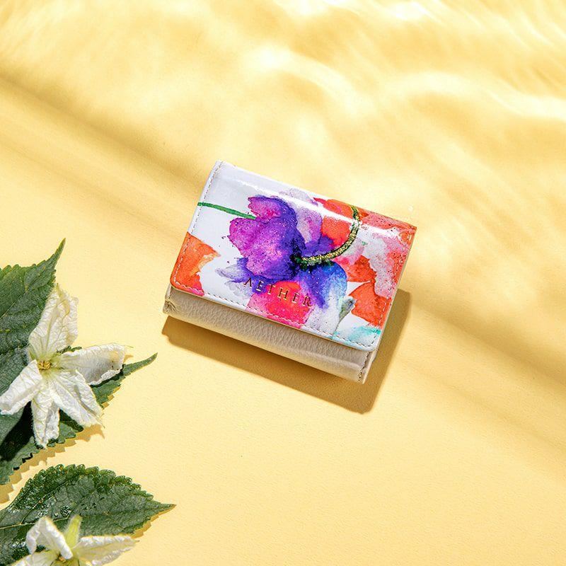 ラムエナメル革三つ折りミニ財布