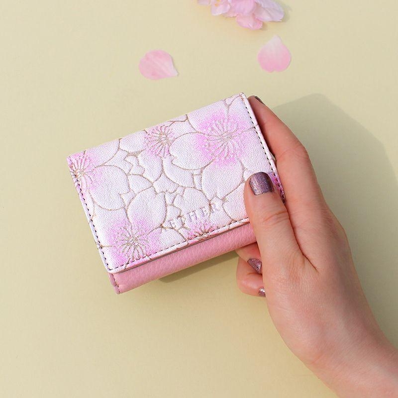 ヌバックレザー「サクラ」ミニ財布(三つ折り)