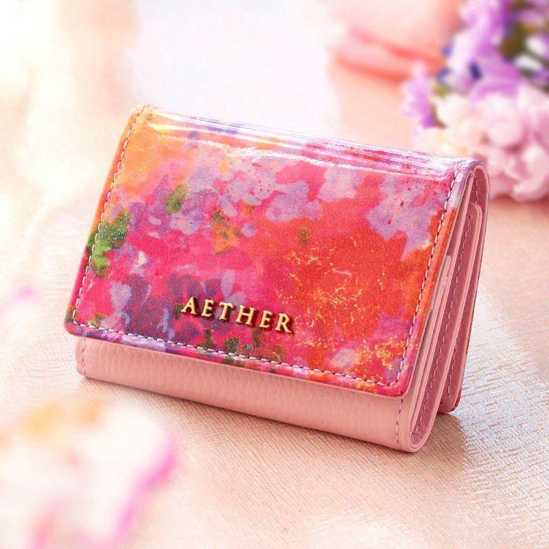 エナメルレザー「フルール」ミニ財布(三つ折り)