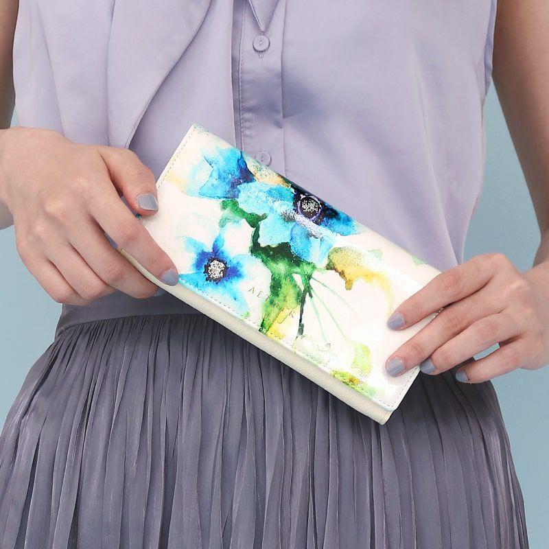 エナメルレザー「エトワールブルー」長財布(かぶせ)