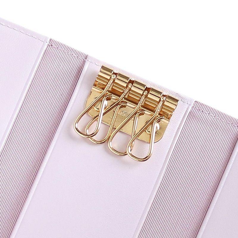 押し花エナメルレザー「ジプソフィア」キーケース ピンク