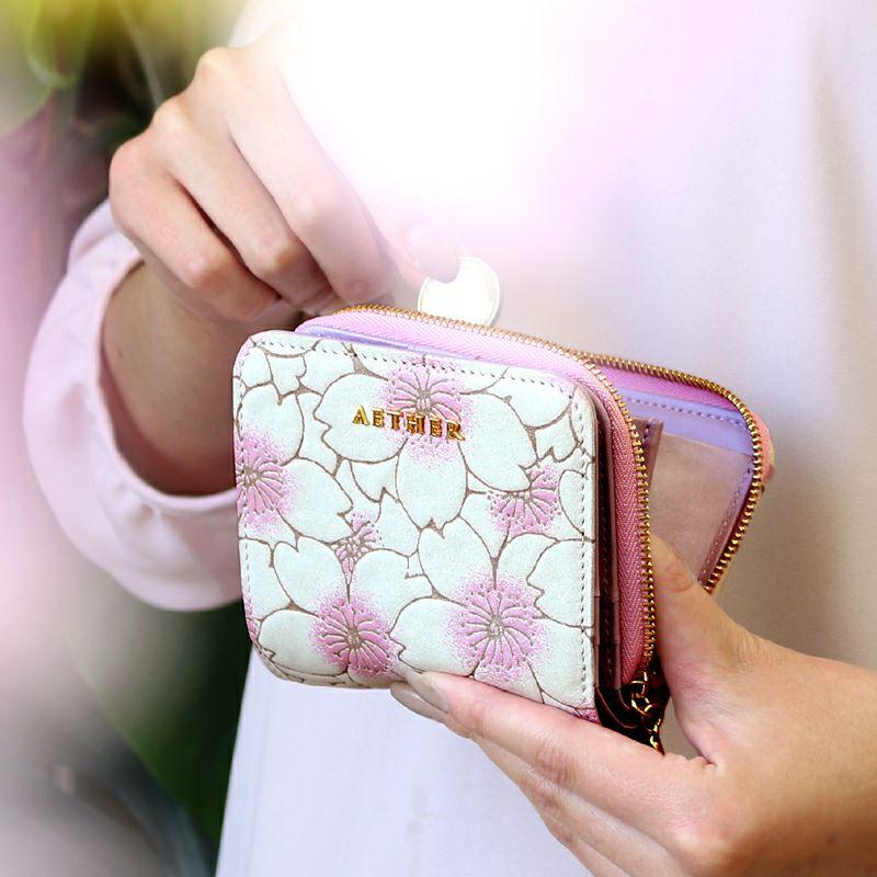 ヌバックレザー「サクラ」二つ折り財布(ファスナー)