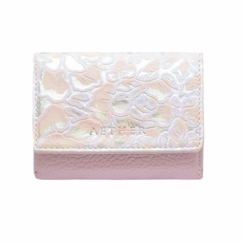 ローズ型押しレザー「シュクレ」ミニ財布(三つ折り) ローズピンク