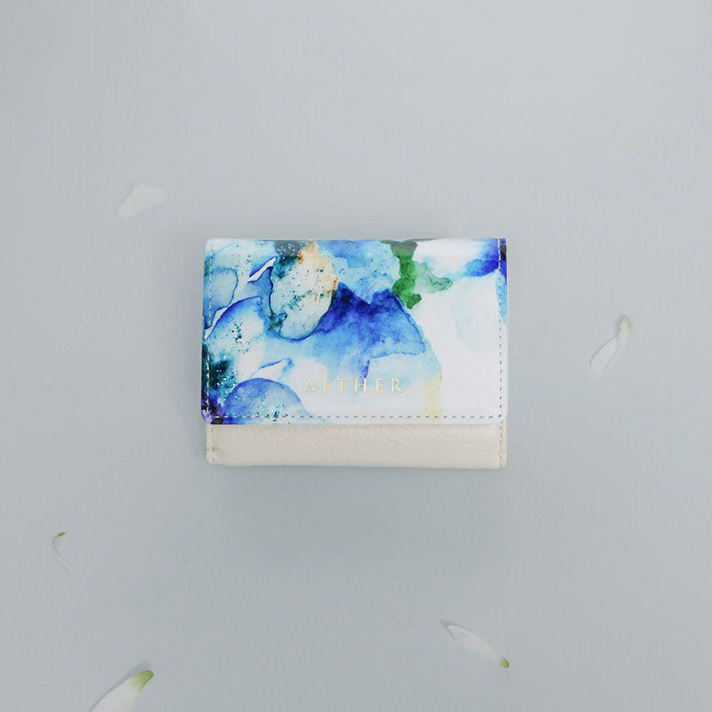 エナメルレザー「エトワールブルー」ミニ財布(三つ折り)