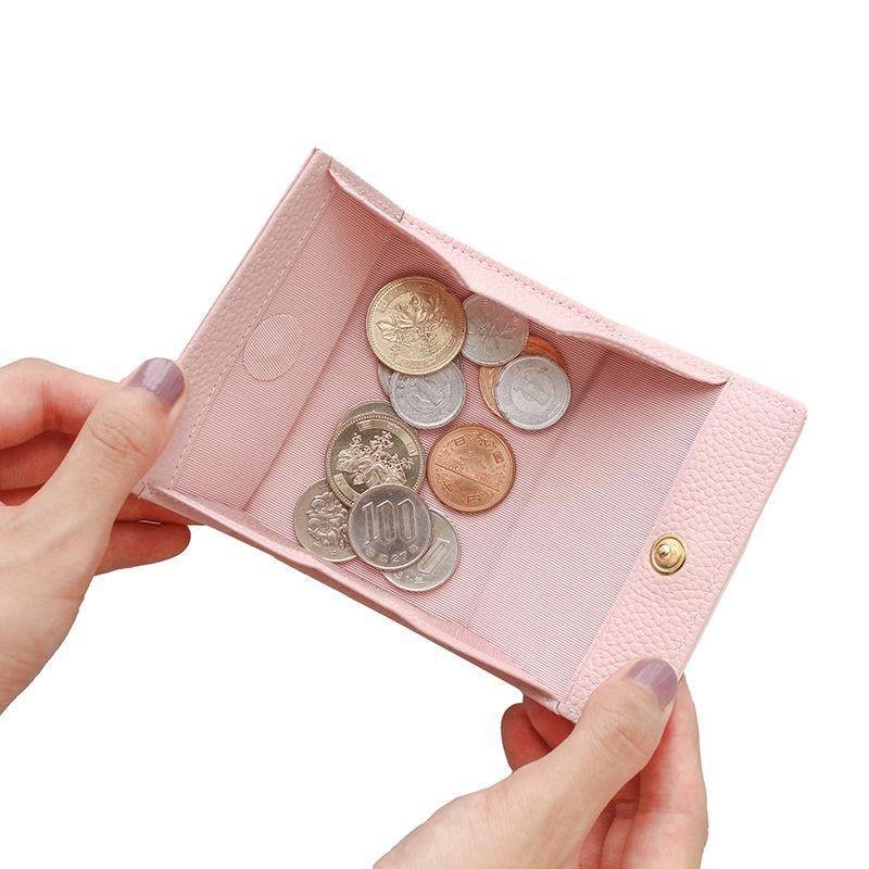 押し花エナメルレザー「ジプソフィア」ミニ財布(三つ折り) ピンク