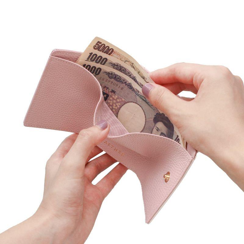 押し花エナメルレザー「ジプソフィア」ミニ財布(三つ折り) ホワイト