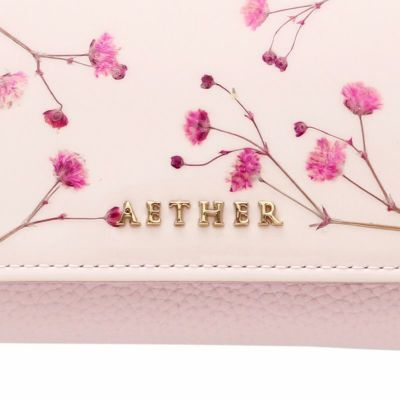 押し花エナメルレザー「ジプソフィア」ミニ財布(三つ折り) ブルー