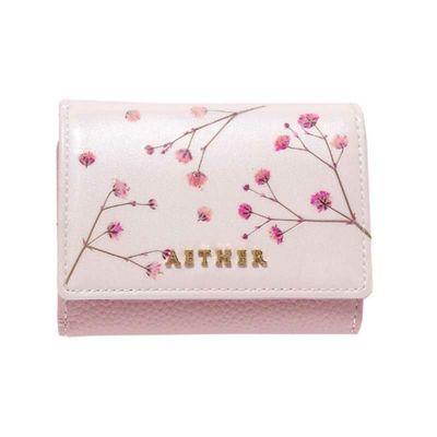 押し花レザー「ジプソフィア」ミニ財布(三つ折り) ペールピンク