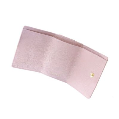 押し花レザー「ジプソフィア」ミニ財布(三つ折り)ペールグリーン